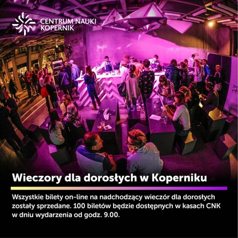 Wieczory dla dorosłych co miesiąc w Koperniku